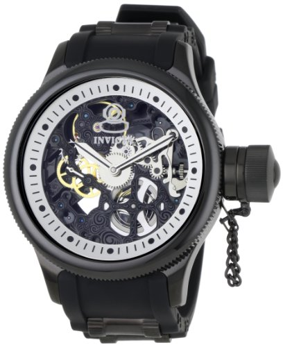 Swiss Watches:Invicta Men's 1091 Russian Diver Mechanical Skeleton Dial Black Polyurethane Watch Images