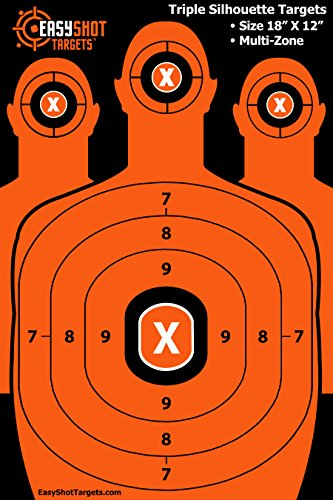 "18"" X 12"" Silhouette Targets For Shooting, Multi-Zone (150 FREE Repair Stickers) Easy to See Shots, High-Visibility Orange, Firearms Targets for Pistols & Rifles Marksmanship,100% MONEY-BACK GUARANTEE"