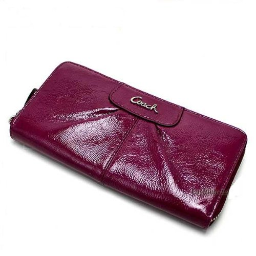 Coach Ashley Patent Leather Zip Around Wallet in Dark Plum F 46307