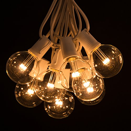 100 foot led warm white outdoor globe patio string lights import it all. Black Bedroom Furniture Sets. Home Design Ideas