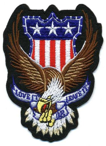 Embroidered Iron On Patch - Love it or Leave it Eagle Patch 4.5