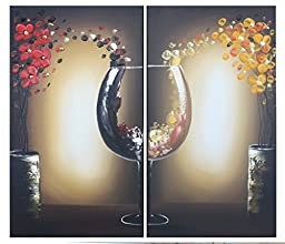 Ode-Rin Hand Painted Mordern Oil Paintings Color Mosaic Wineglass 2 Panels Wood Inside Framed Hanging For Home And Wall Decoration