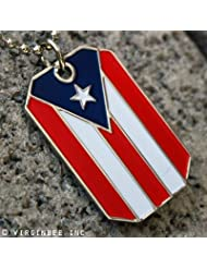 PUERTO RICO FLAG PR PRIDE PENDANT DOG TAG CHAIN NECKLACE PUERTORRIQUE BANDERA