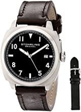 Stuhrling Original Tuskegee Spitfire Watch Set Men's Quartz Watch with Black Dial Analogue Display and Interchangable Black/Brown Leather Strap 770.SET.02