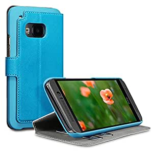 HTC One M9 Case, Terrapin [Stand Feature] [Ultra Low Profile] [Crosshatch] HTC One M9 Case Wallet [Blue] Premium Wallet Case with STAND Flip Cover for HTC One M9 - Blue