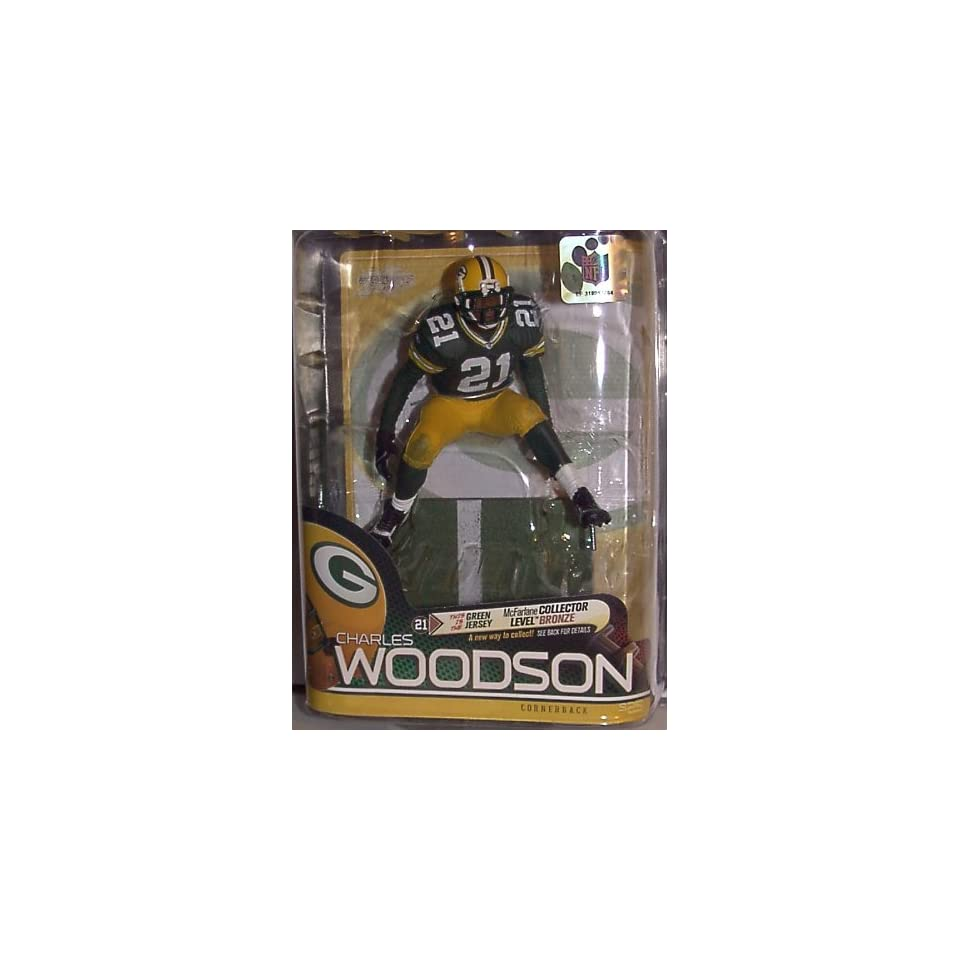 2010 MCFARLANE NFL SERIES 25 CHARLES WOODSON GREENBAY PACKERS #21 GREEN JERSEY VARIANT COLLECTOR LEVEL BRONZE CHASE NUMBER #1891/3000 FOOTBALL FIGURE