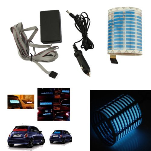 70*16cm Blue Sound Music Activated Car Stickers Equalizer Glow 12V LED Light