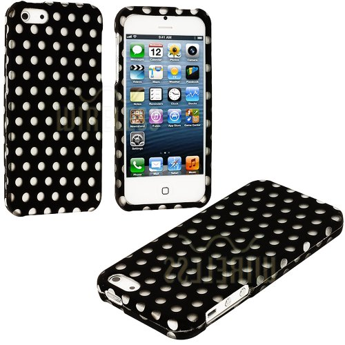 Mylife (Tm) Classic Black + White Polka Dots Series (2 Piece Snap On) Hardshell Plates Case For The Iphone 5/5S (5G) 5Th Generation Touch Phone (Clip Fitted Front And Back Solid Cover Case + Rubberized Tough Armor Skin + Lifetime Warranty + Sealed Inside