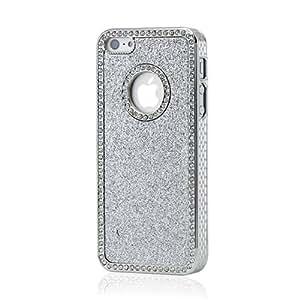 Gearonic AV-5179SPUIB Luxury Bling Glitter Chrome Crystal Rhinestones Hard Back Case for iPhone 5 - Non-Retail Packaging - Silver
