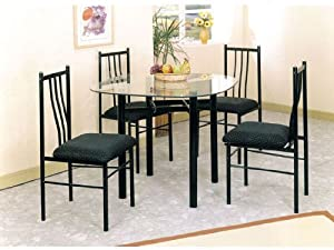 5pc Metal Dining Table & Chairs Set Black Finish