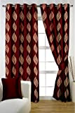 HOMEC Decorous Jacquard Curtain Set of 2 (Size - Door 46 X 84 inch/Color - Red)