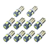 Zitrades 10pcs BA9S 5 SMD 5050 LED Car Wedge Light Bulbs 1895 T4W 1445 6253 White Color By zitrades