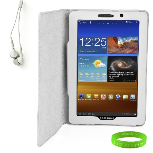 Elegant Portfolio Case For Your 7.7 Inch Galaxy Tab For Quick And Easy Use + White Matching Ear Buds + Electric Green Vangoddy Live * Laugh * Love * Wrist Band!!!