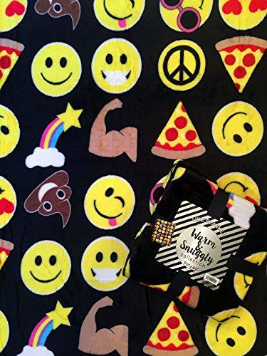 Velvet Fleece Emoji Throw Blanket (Black) (Sleeping Mask Cookie Cutter compare prices)