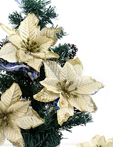 2013newestseller Pack of 30 Golden Poinsettia Christmas Tree Ornaments Decorations