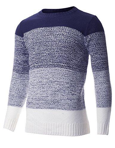 FLATSEVEN -  Maglione  - Basic - Maniche lunghe  - Uomo blu navy Medium
