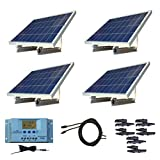 WindyNation 400 Watt 12V or 24V Solar Panel Kit w/ Adjustable Solar Mount Rack and LCD Charge Controller RV, Cabin, Off-Grid Battery (Tamaño: 400 Watt Kit)