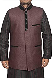 Adam In Style Cherry Brown Jute Jacket For Men (Size: 40)