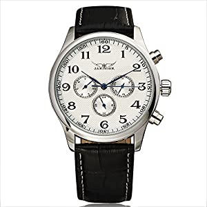 WINNER Men Business Dress Mechanical Wrist Watch Black Leather Strap Round Dial Automatic-self-wind Sub Dials