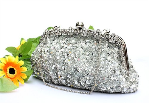 Hollywood Style Bridal Accessories Beaded Handbag Evening Purse Mini Bag Wedding Clutch Holiday Birthday Gift Bea038-silver