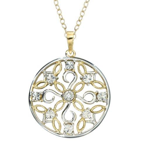 DiAura Two-Tone Diamond-Accent Filigree Medallion