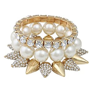 Gold with Ivory Iced Out 3 Piece Bundle Spiked, Pearl & Stone Beaded Stretch Bracelet
