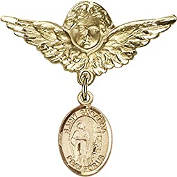 Gold Filled Baby Badge with St. Susanna Charm and Angel w/Wings Badge Pin 1 1/8 X 1 1/8 inches