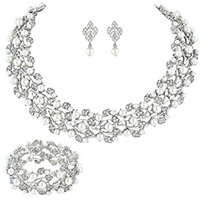 EVER FAITH Austrian Crystal Bridal Cream Simulated Pearl Leaf Jewelry Set Clear