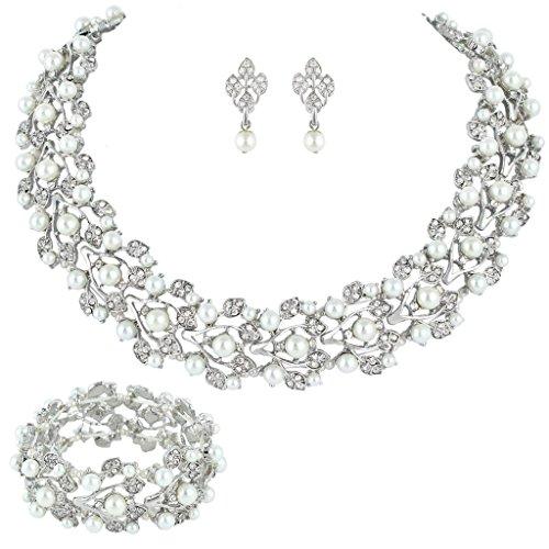 EVER FAITH Austrian Crystal Bridal Cream Simulated Pearl Leaf Jewelry Set Clear …