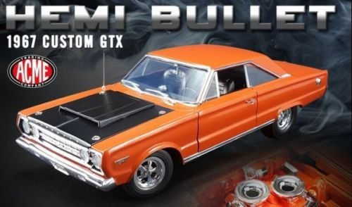 NEW 1:18 ACME LIMITED EDITION COLLECTION - ORANGE 1967 PLYMOUTH CUSTOM GTX HEMI BULLET Diecast Model Car By ACME (Hemi Bullet compare prices)