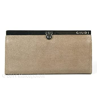 PADOVA - Leather Clutch Wallet with Tab Closure, Vernice Taupe