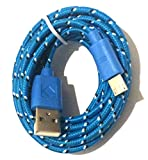 NoveltyThunder - 3m Fabric Braided 3 Meter Metre Extra Long Data Sync Micro USB V8 Charger Cable Lead For Samsung Galaxy Ace 2 BlackBerry Nokia Lumia 2520 Lumia 610 Lumia 710 Lumia 800 Lumia 900 Lumia 920 (Blue)