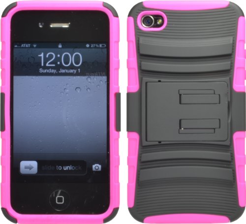 Black Pink Hard Rugged Hybrid Impact Case Cover Kickstand For Apple Iphone 4 4S