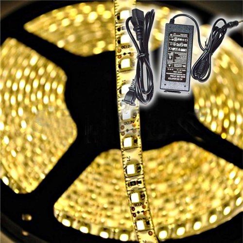 Led Strip Lighting Kit, Inextstation(Tm) 5M 3528 Smd Flexible Waterproof 300 Led Strip Light With Power Adapter - Warm White