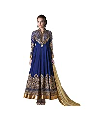Blue Faux Georgette Anarkali Suit With Bottom And Dupatta