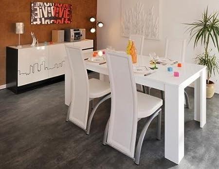 Table à manger rectangulaire Blanc Laquée URBAN CITY