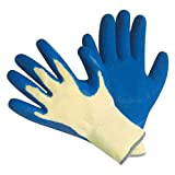 CUT RESISTANT GLOVES-100% KEVLAR, Heavy Weight Textured Blue Latex Coated,large, (1 pair)