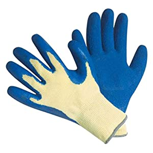 G & F 1607M Cut Resistant 100-Percent Kevlar Gloves, Heavy Weight Textured Blue Latex Coated, Medium, 1-Pair