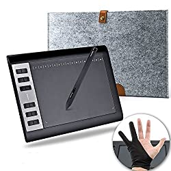 HUION 1060 Pro+ Graphics Drawing Tablet with Wool Liner Bag and Anti-fouling Glove