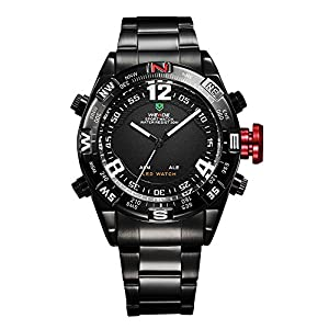 Mens Sport Watch Dual Time LED Digital Analog Black Metal Band Quartz WH-156