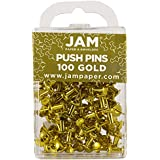 JAM Paper® - Gold Push Pins / Thumb Tacks - 100 Colorful Pushpins per Container