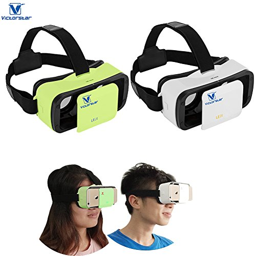 VICTORSTAR@ MINI VR BOX SET with Rechargable Remote Controller /Mini VR 3D Glasses /VR Helmet,Portability 174g with Adjustable Pupil and Focal Distance For 4.5 to 5.5 Inch Smartphones (White+Green)