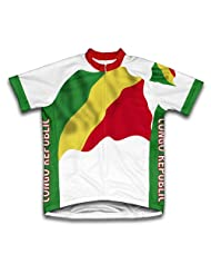 Congo Republic Flag Short Sleeve Cycling Jersey for Women