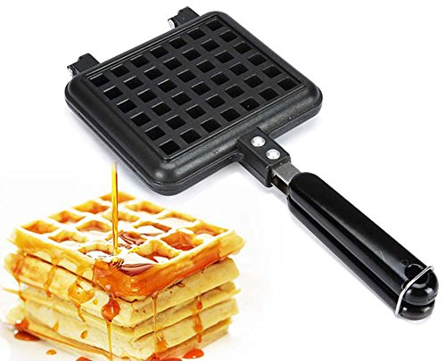 Waffle Maker Iron Tray Waffle Baking Pan Mold Checkered Cakes with Handle Baker Plates Fits for Stovetop Campfire Pan Aluminum Non Stick (Stove Top Cake Pan compare prices)