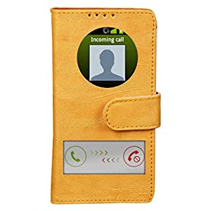 Dsas Artificial Leather Flip Cover with screen Display Cut Outs designed for Micromax Canvas Xpress 2 E313