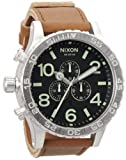 Nixon 51-30 Chrono Leather Watch Black/Saddle, One Size