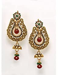 Bindhani Gold Plated With Marron And Green Jaipur Polki Gemstones Hangings Drop Ethnic Fashion Earrings