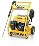 Wolf 200 BAR, 3000psi, 6.5HP Heavy Duty Petrol Driven Pressure Power Washer - Full Spares & Service Support - Kit Includes Gun, Lance, 4 Quick Fit Nozzles and 6m High Pressure Hose