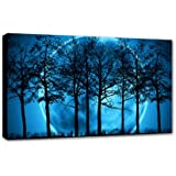 """LARGE BLUE CANVAS PICTURE PRINT MODERN LANDSCAPE 34""""x20"""" mounted and ready to hang"""