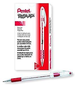 Pentel R.S.V.P. Ballpoint Pen, 0.7mm Fine Tip, Red Ink, Box of 12 (BK90-B)